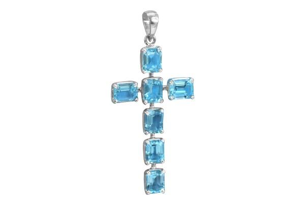 Blue Topaz Cross Pendant