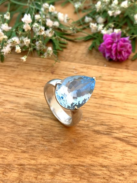 Blautopas Ring - 56,5/16,5