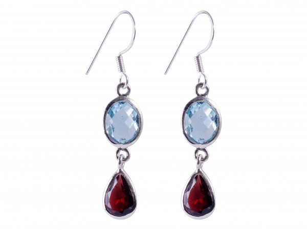 Blue Topaz-Garnet earrings