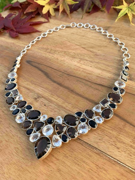 Top Smoky Quartz with Rock Crystal Collier