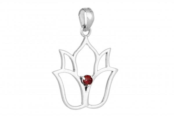 Lotusblume Anhänger - Granat