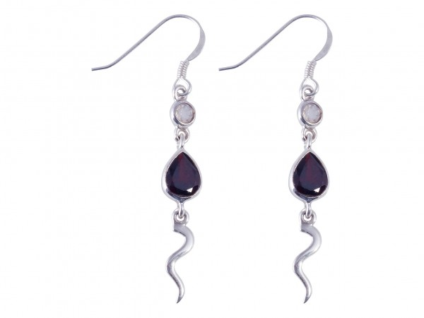 Garnet-Rainbow Moonstone earrings