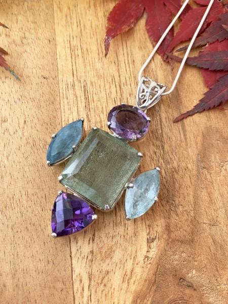 Amethyst-Aquamarine pendant