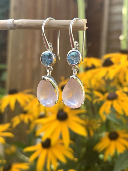 Rose Quartz with Blue Topaz Earrings