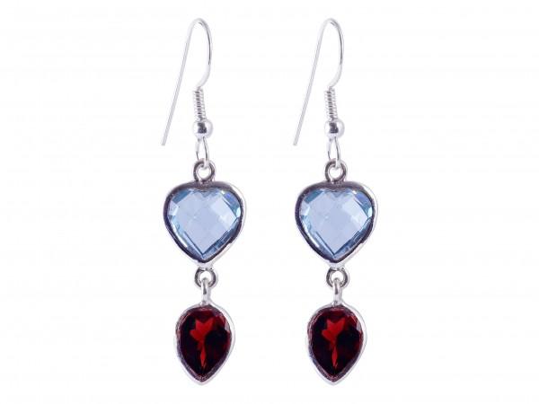 Blue Topaz-Garnet earrings