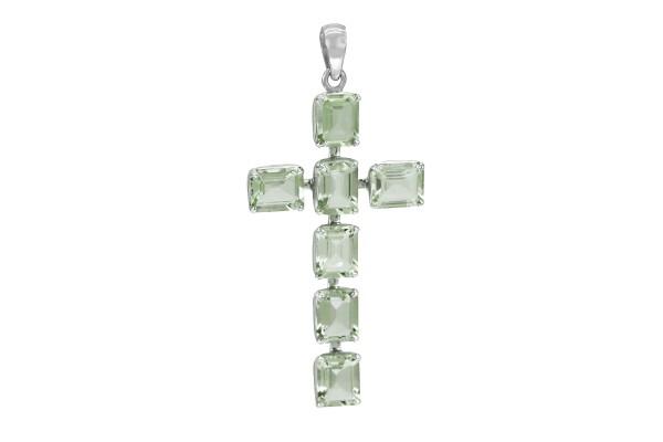 Prasiolith Kreuz Anhänger