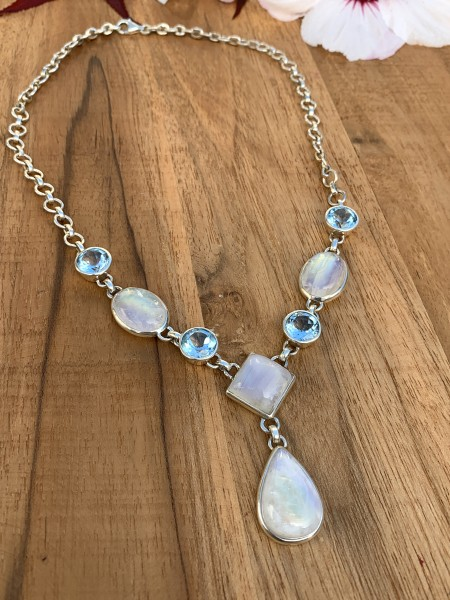 Rainbow Moonstone with Blue Topaz Collier