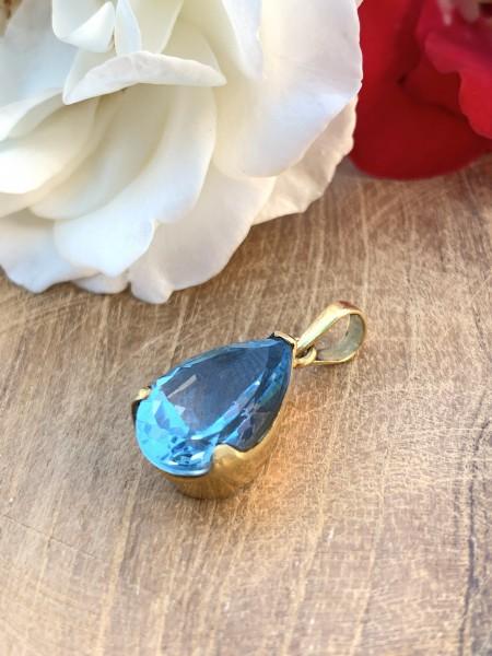 TOP Blau Topas Anhänger 14 k Gold