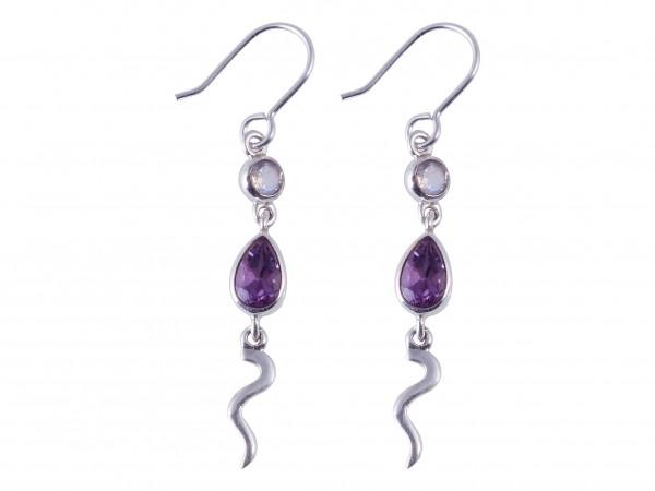 Amethyst-Rainbow Moonstone earrings